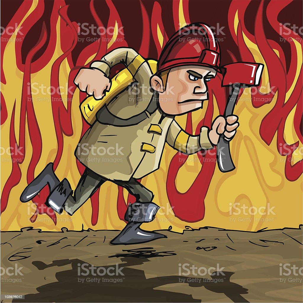 Cartoon Fireman running through flames royalty-free stock vector art