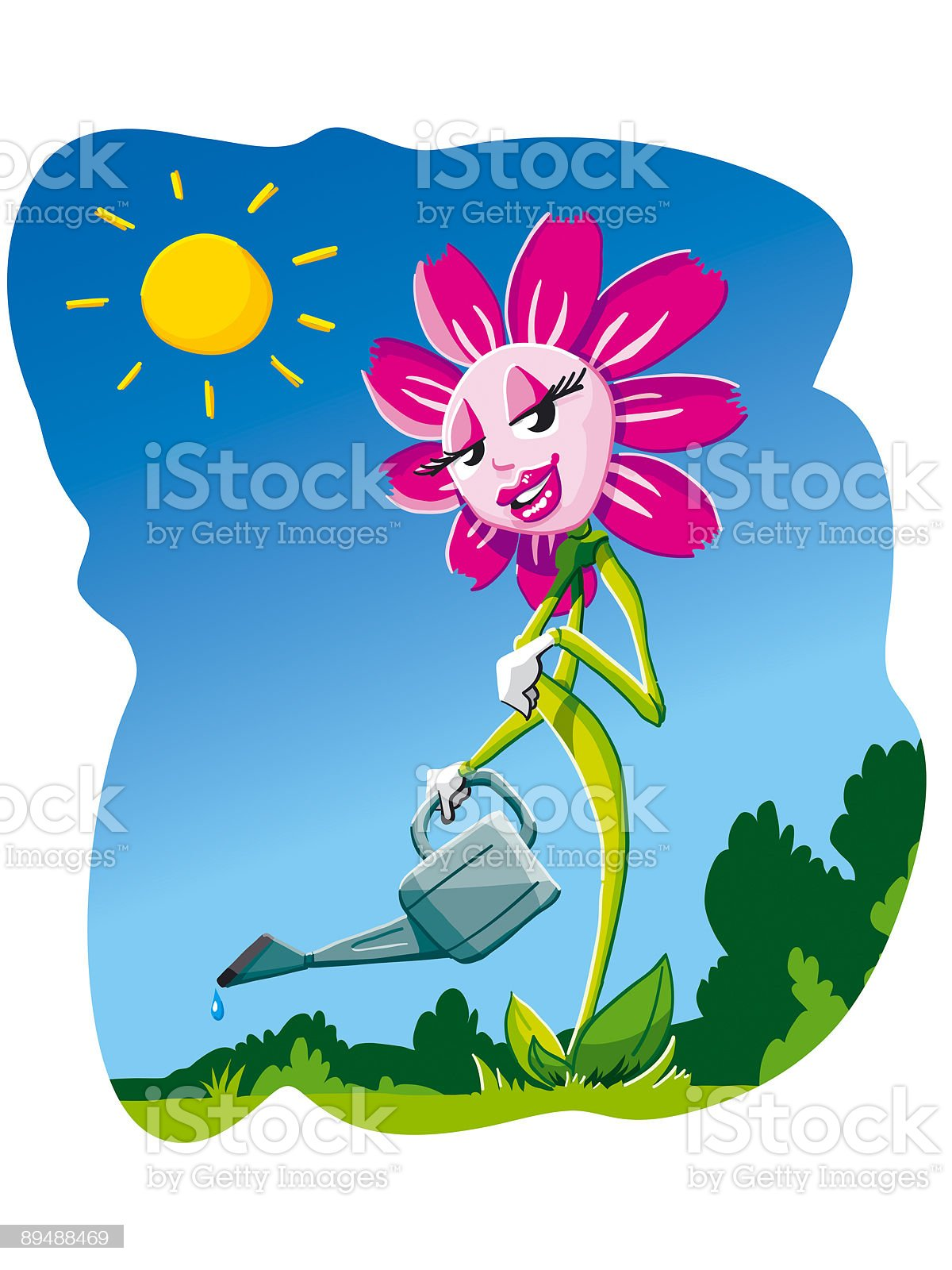 Cartoon Flower with Watering Can royalty-free stock vector art