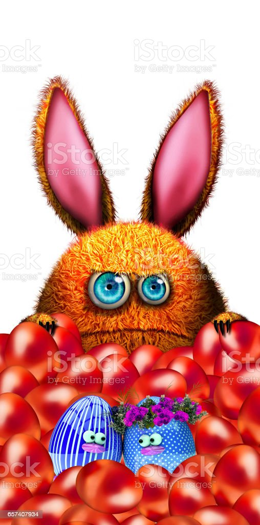 Cartoon funny easter bunny with easter eggs vector art illustration