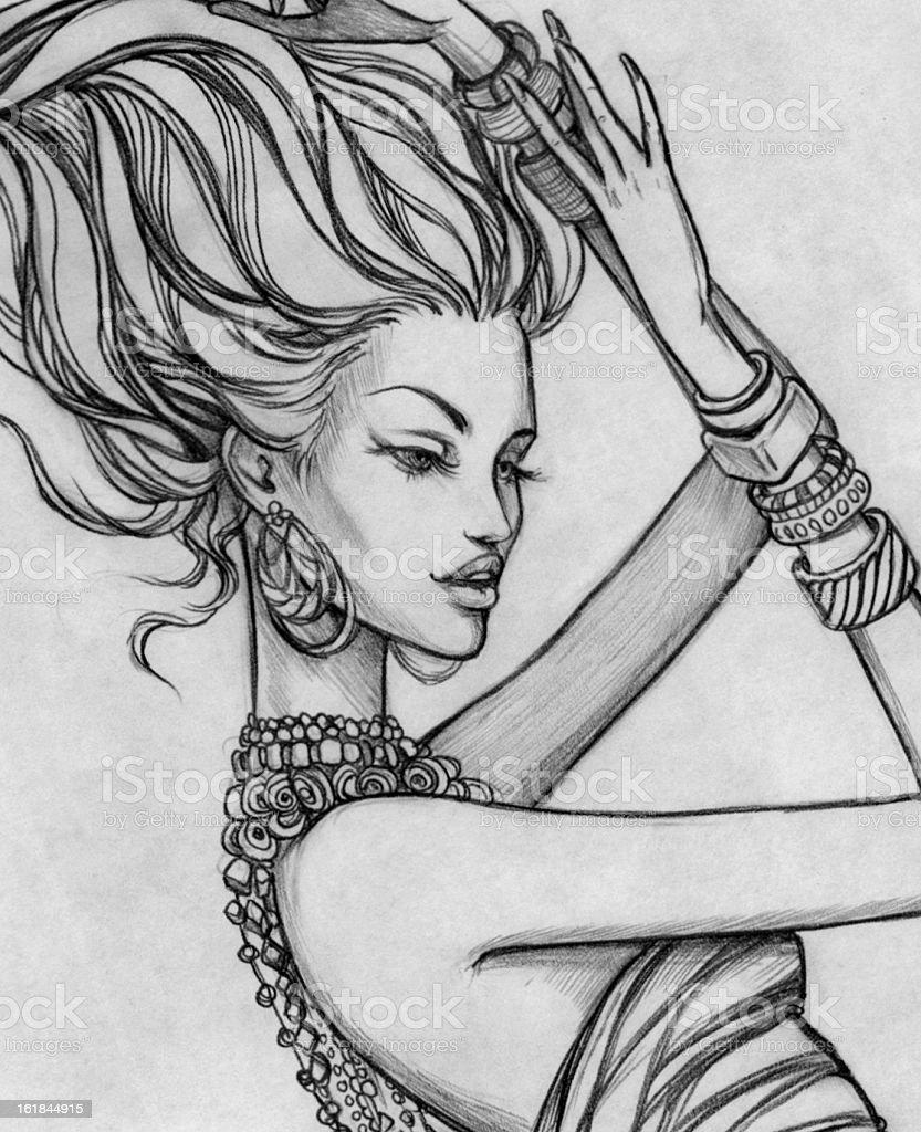 Cartoon girl vector art illustration