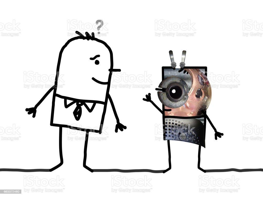 Cartoon human and Alien vector art illustration