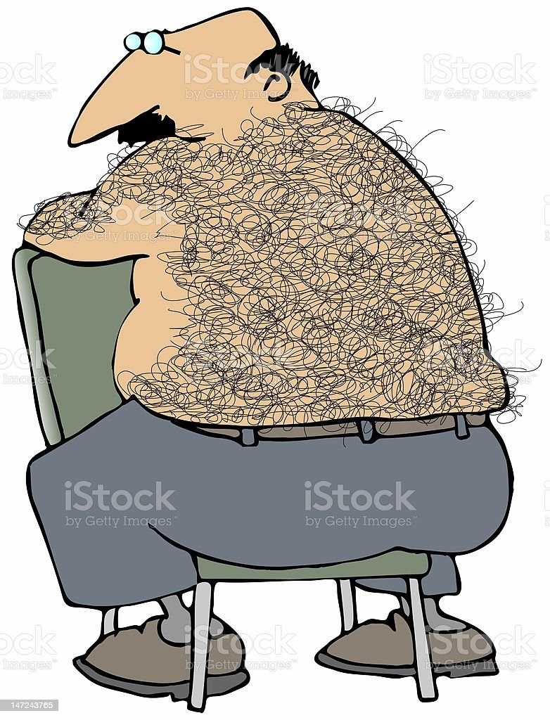 Cartoon illustration of a fat man with a hairy back vector art illustration