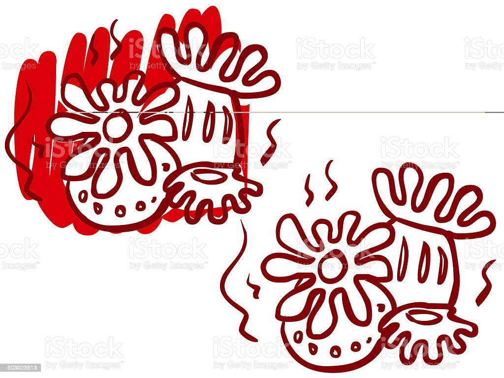 Cartoon illustration of a sea plant, coral. vector art illustration