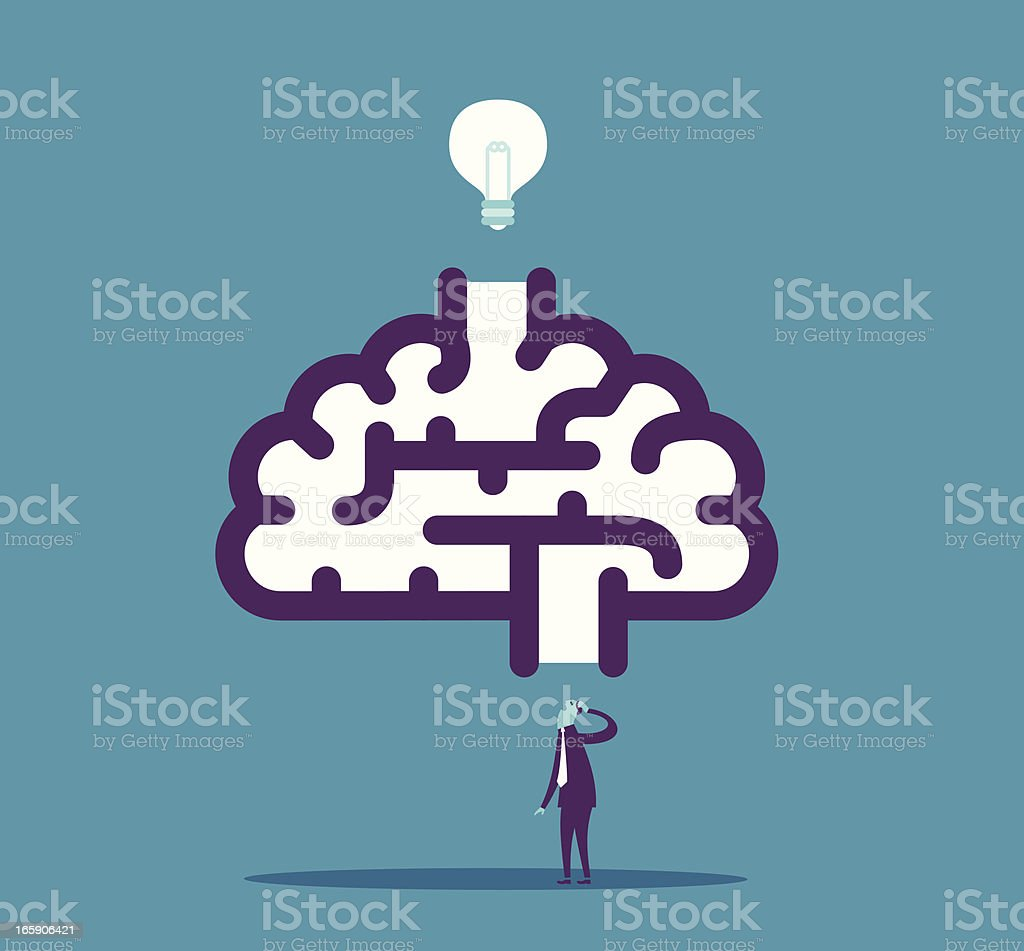 Cartoon image of a brain with a person underneath royalty-free stock vector art