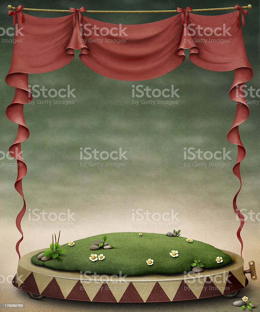 A cartoon image of a red image and stage royalty-free stock vector art
