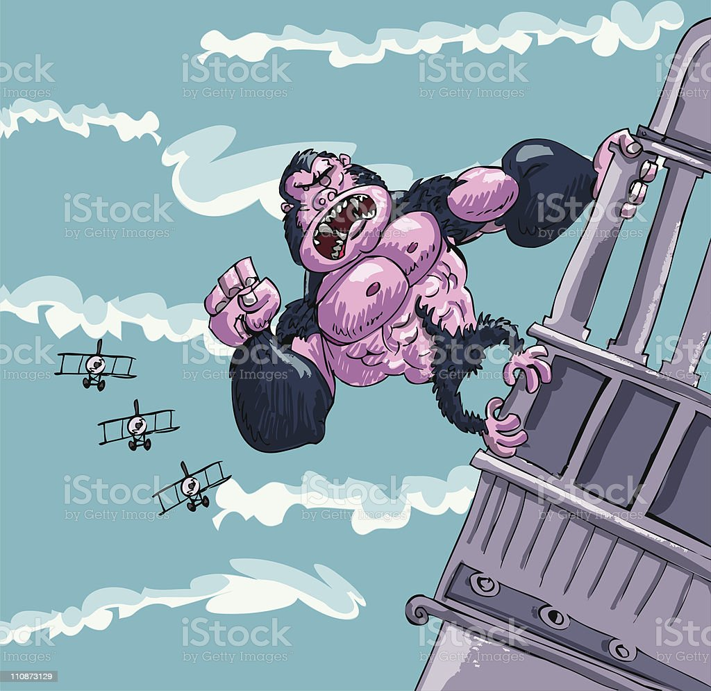 Cartoon King Kong hanging on a building royalty-free stock vector art