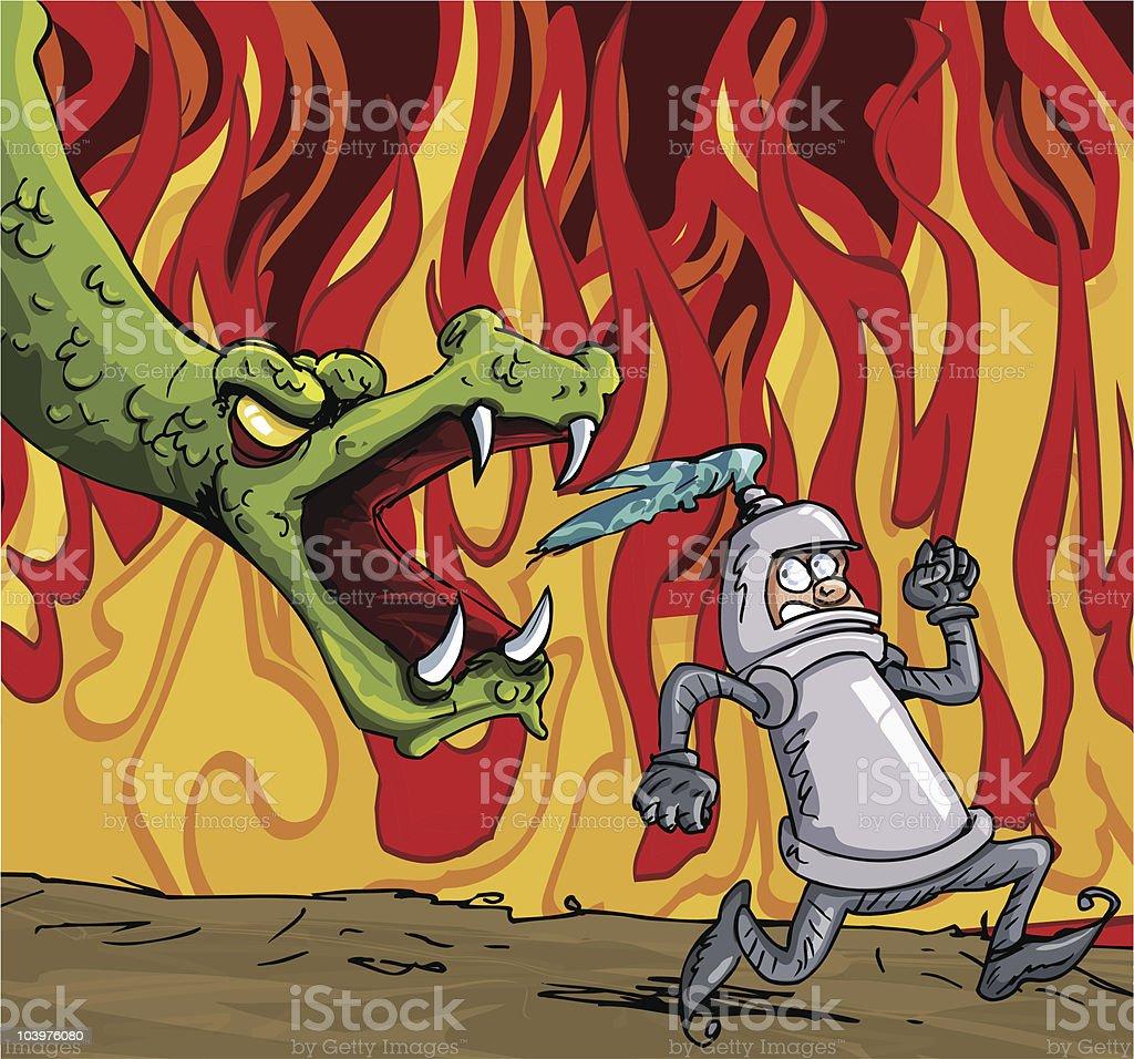 Cartoon knight running from a dragon royalty-free stock vector art