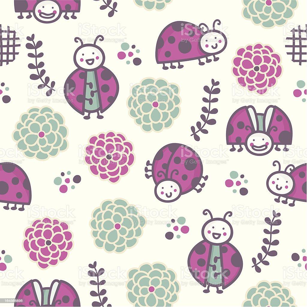 Cartoon ladybugs, Seamless pattern royalty-free stock vector art