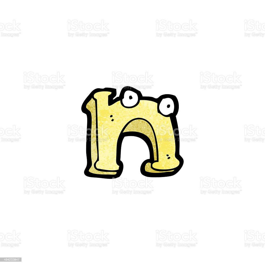 cartoon letter n with eyes royalty-free stock vector art