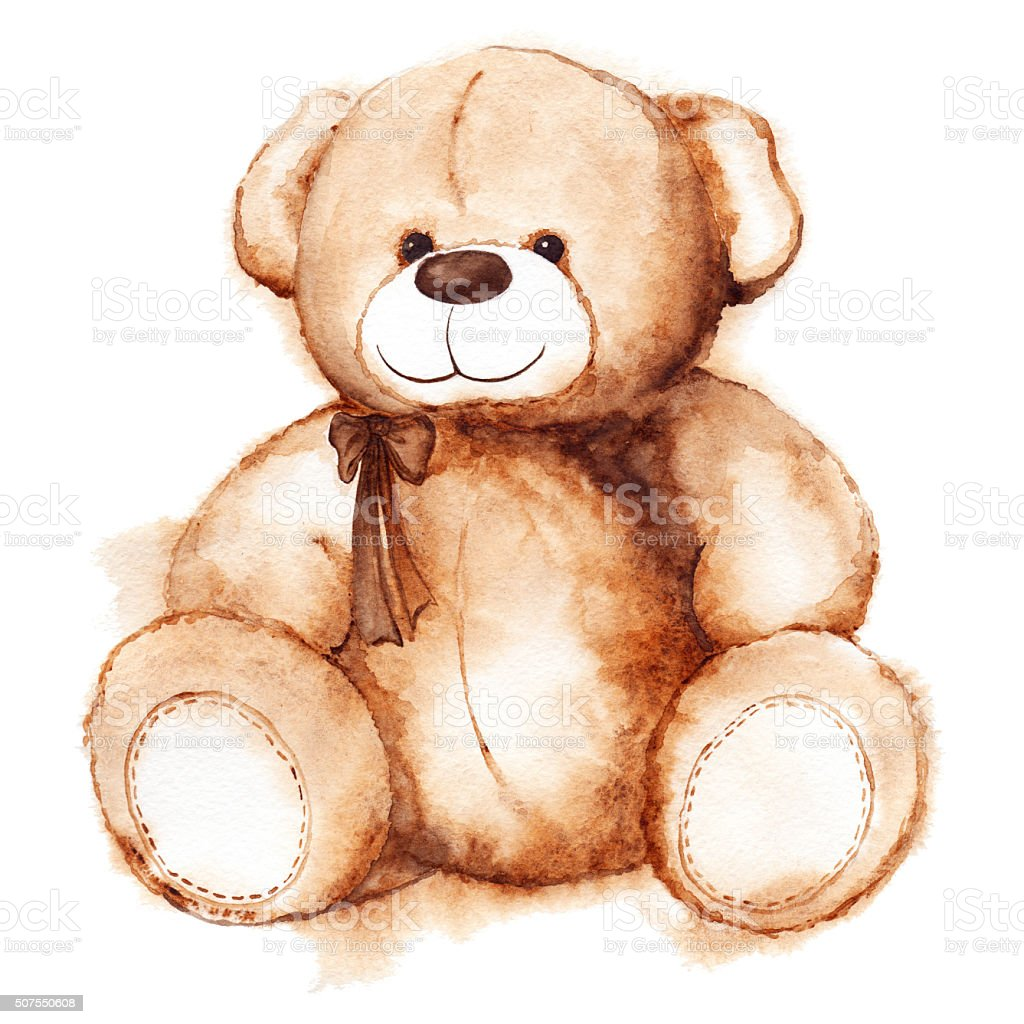 Cartoon lovely Teddy Bear toy Saint Valentine's day isolated vector art illustration