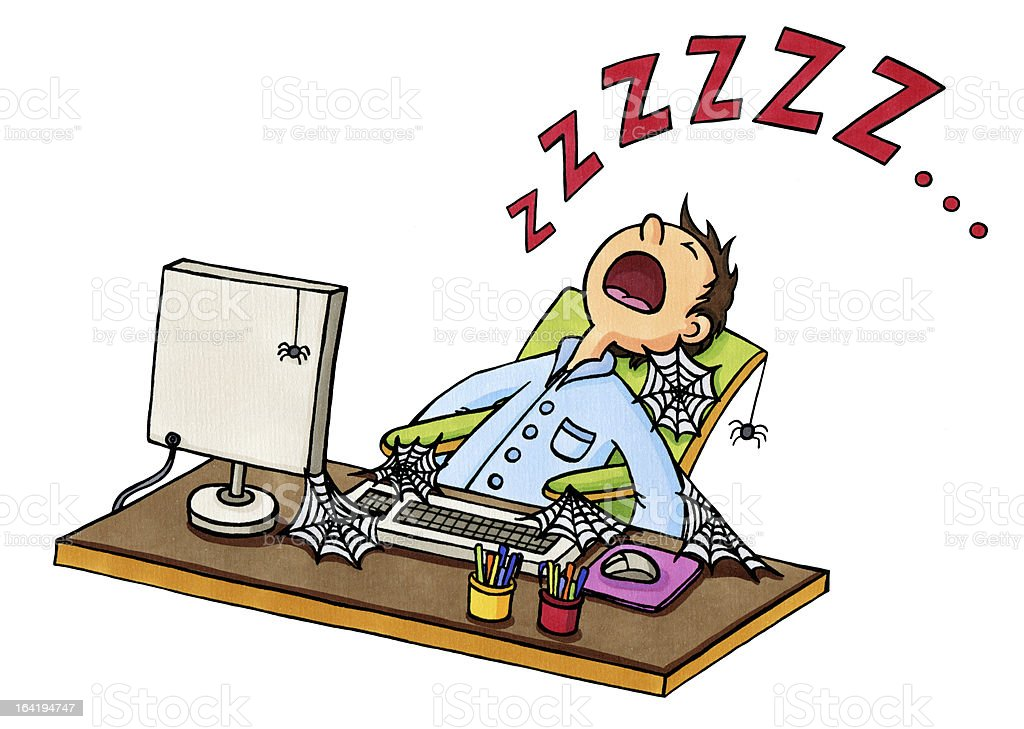Cartoon: Man fallen asleep in front of the computer vector art illustration