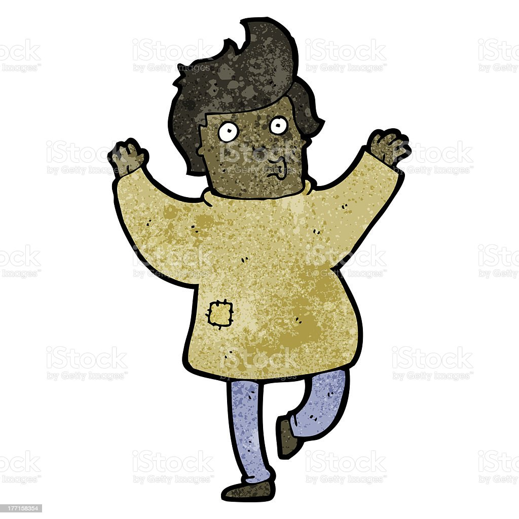 cartoon man in patched clothing royalty-free stock vector art