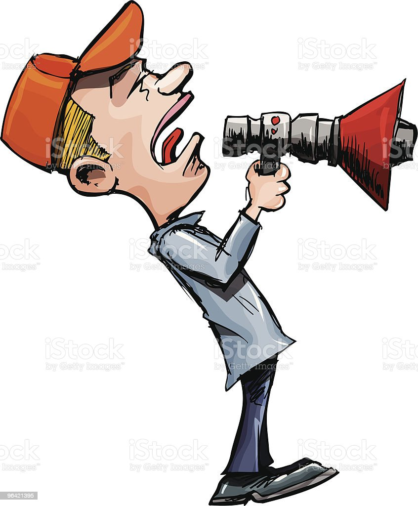 Cartoon man shouts through a megaphone royalty-free stock vector art