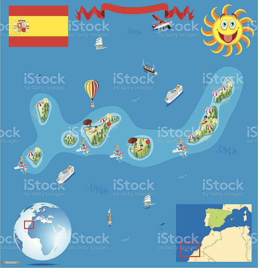 Cartoon map of Canary Islands royalty-free stock vector art