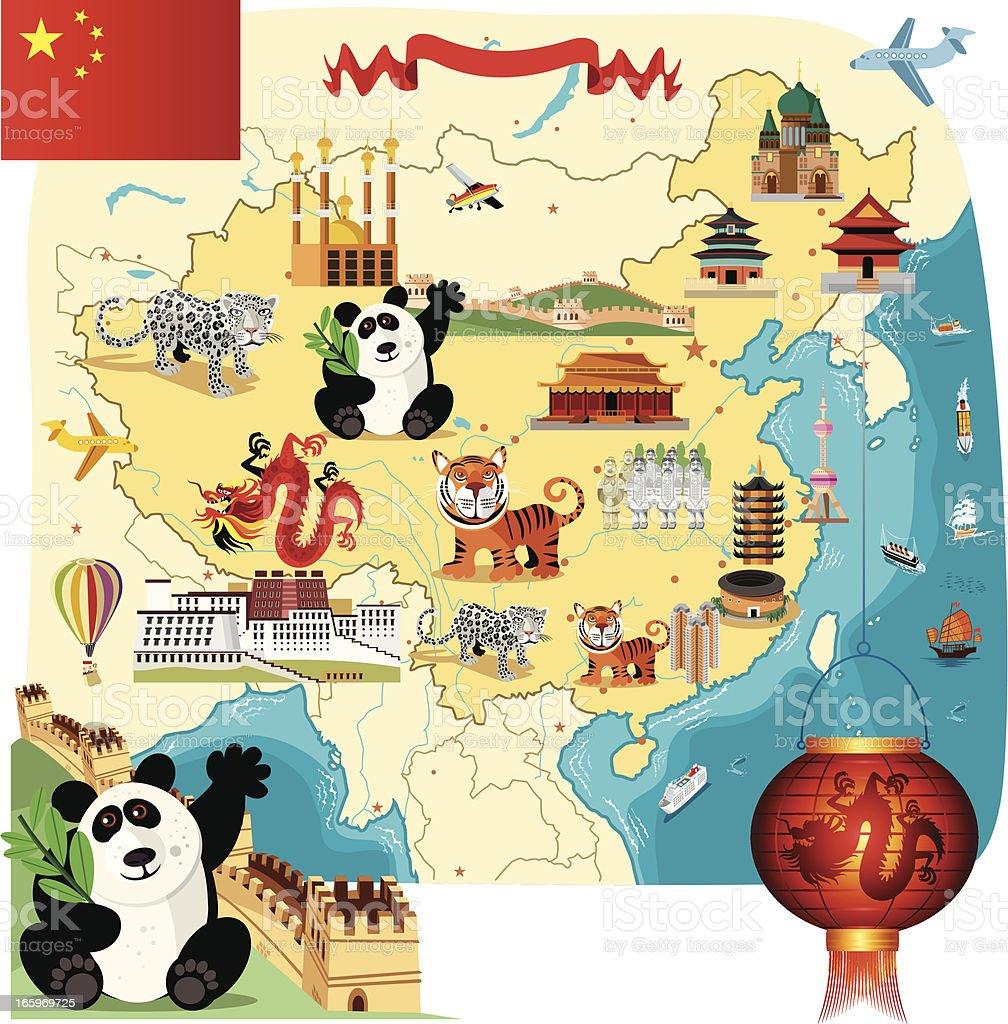 Cartoon map of China royalty-free stock vector art