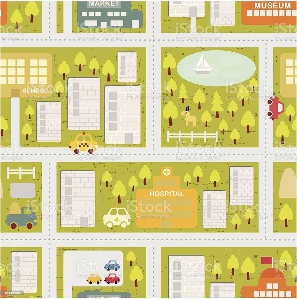 Cartoon map of summer city. royalty-free stock vector art