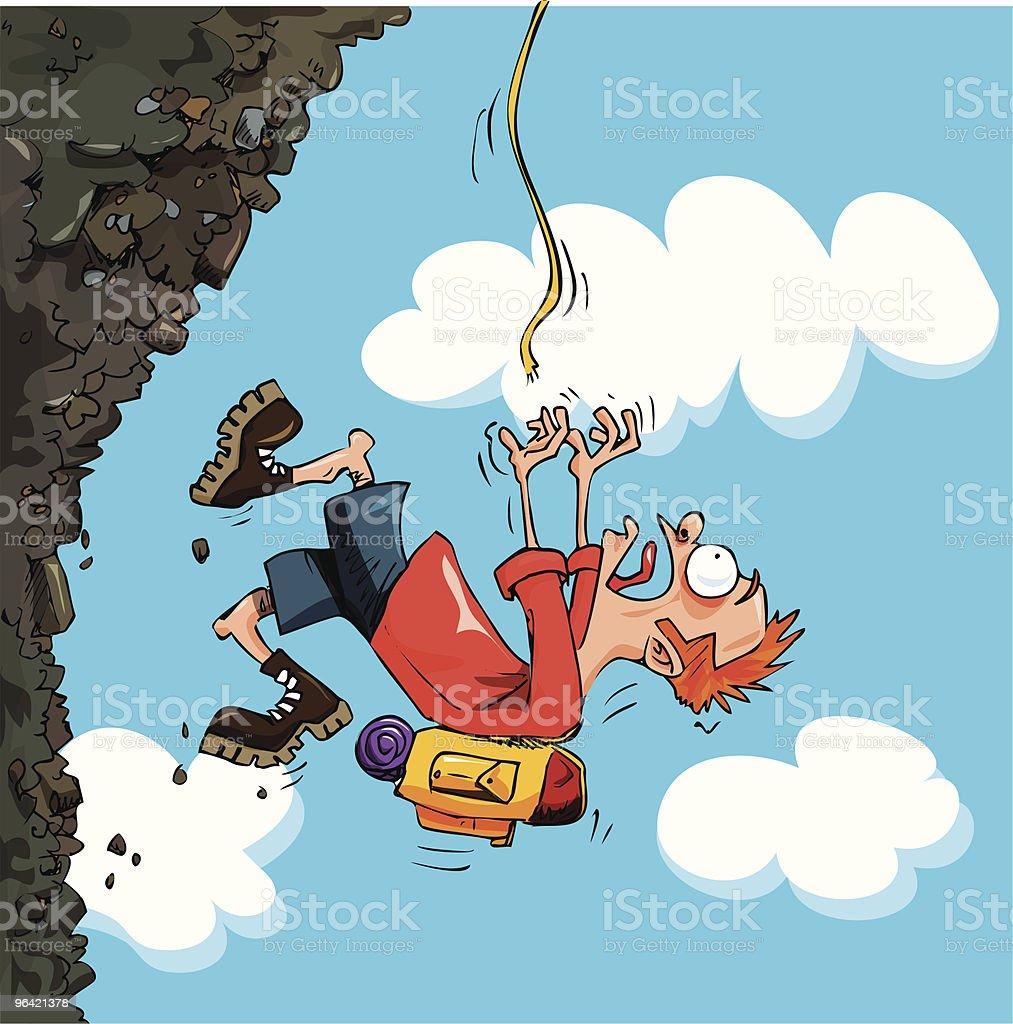Cartoon Mountaineer falling of a mountain royalty-free stock vector art