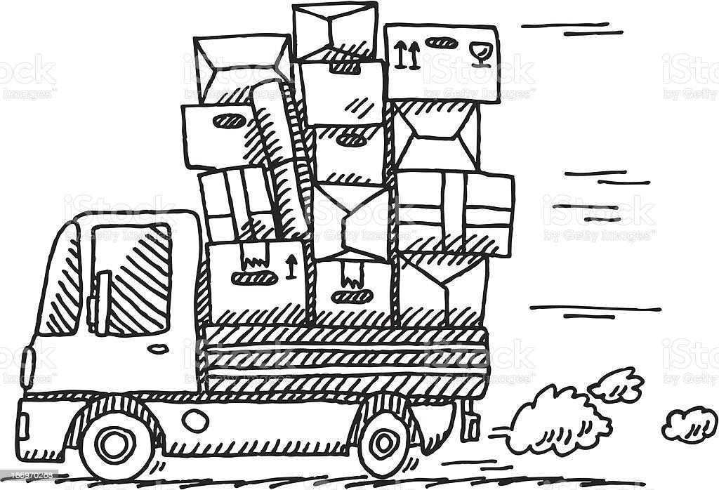 Cartoon Moving Van Drawing vector art illustration