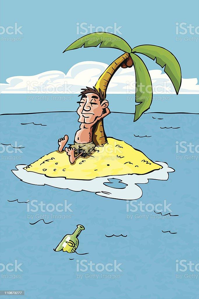 Cartoon of castaway on a desert island royalty-free stock vector art