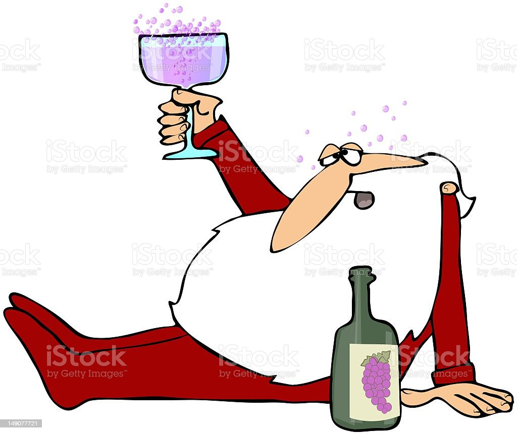 Cartoon of tipsy Santa holding cup up next to wine bottle royalty-free stock vector art