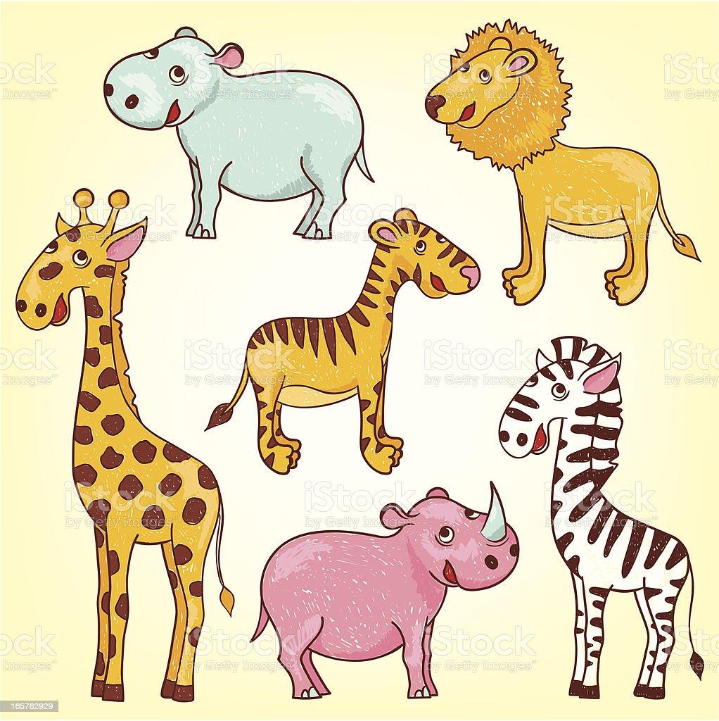 Cartoon of wild animals royalty-free stock vector art