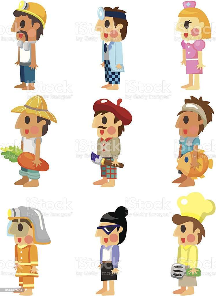 cartoon people job icons set vector art illustration