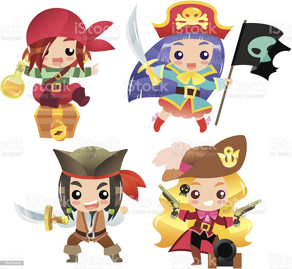 Cartoon pirates Set 1 royalty-free stock vector art