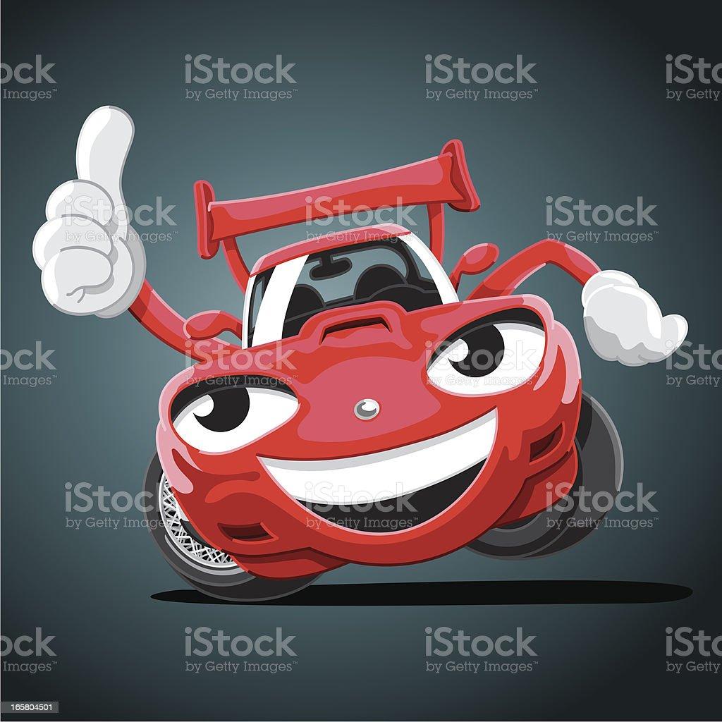 dessin anim pouce lev voiture de course stock vecteur libres de droits libre de droits