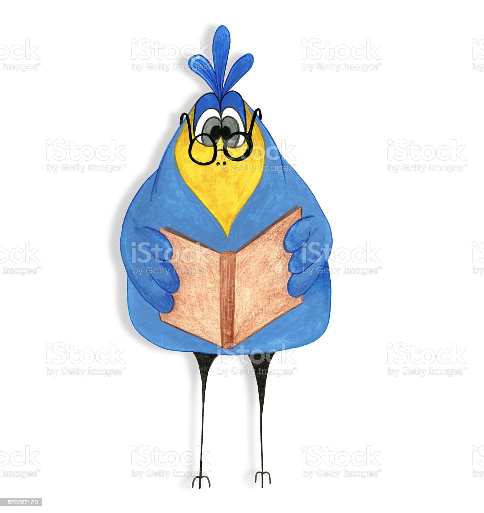 Cartoon raven reads the book. stock photo