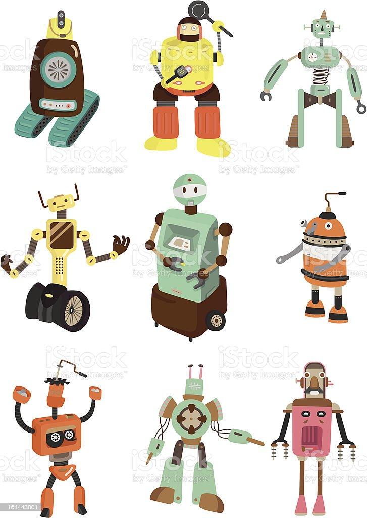 cartoon robot icons set royalty-free stock vector art