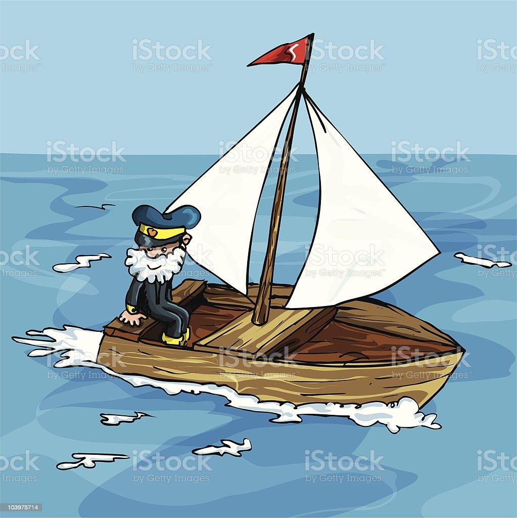 Cartoon sailor in a boat royalty-free stock vector art