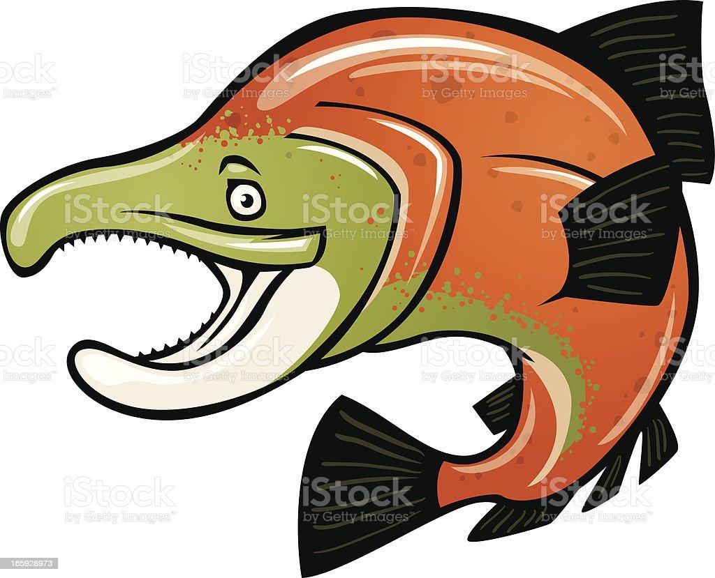 cartoon salmon vector art illustration