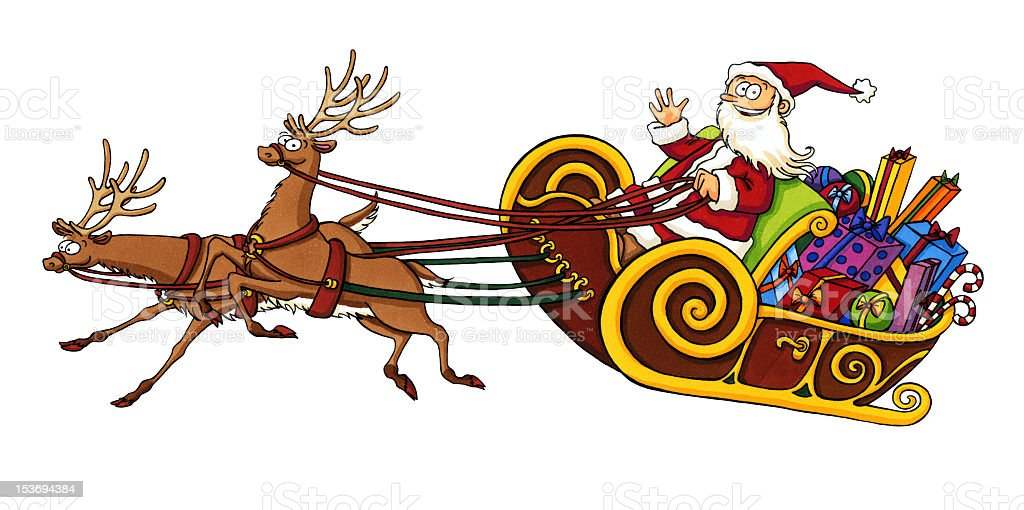 Cartoon Santa Claus riding in a sleigh royalty-free stock vector art