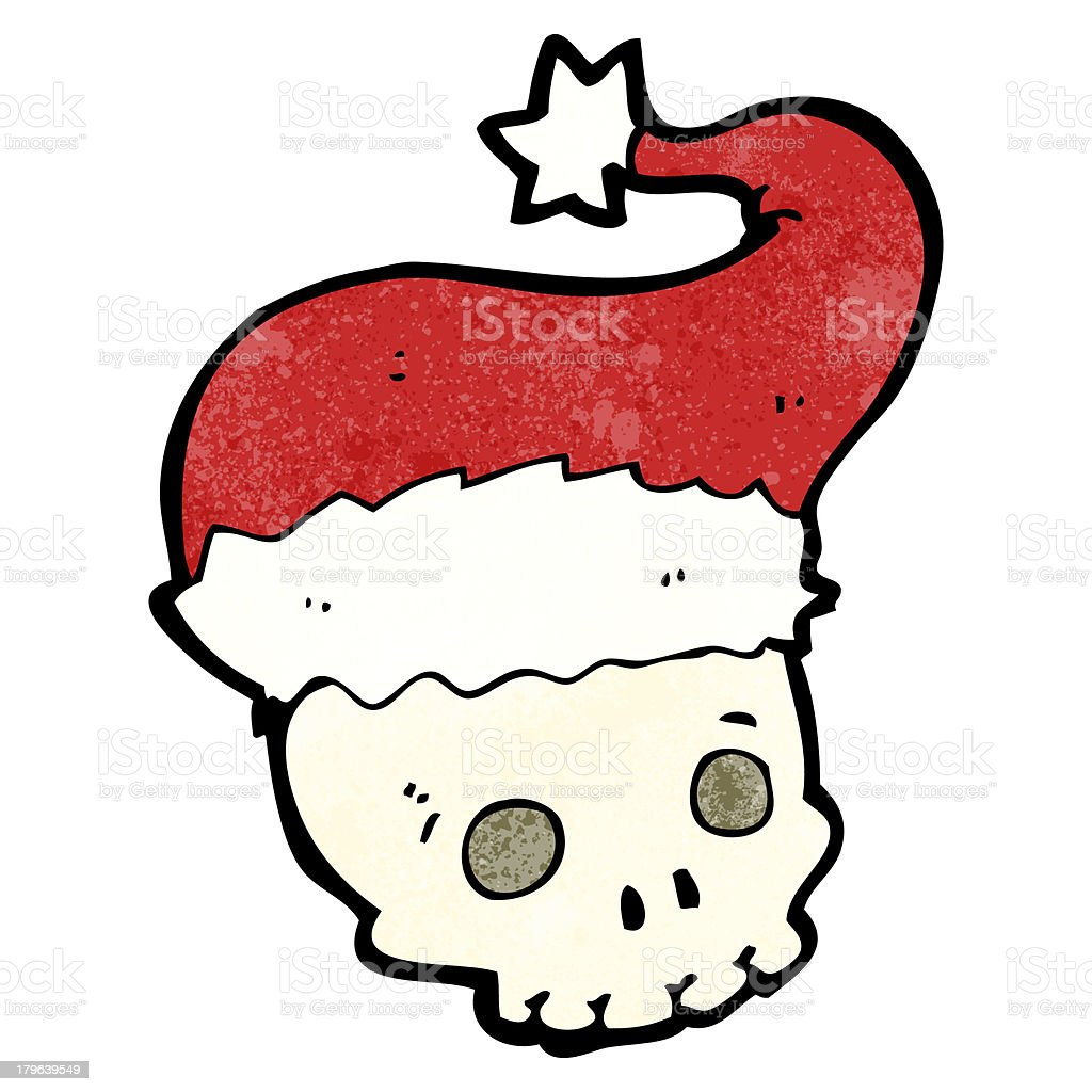 cartoon skull in christmas hat royalty-free stock vector art