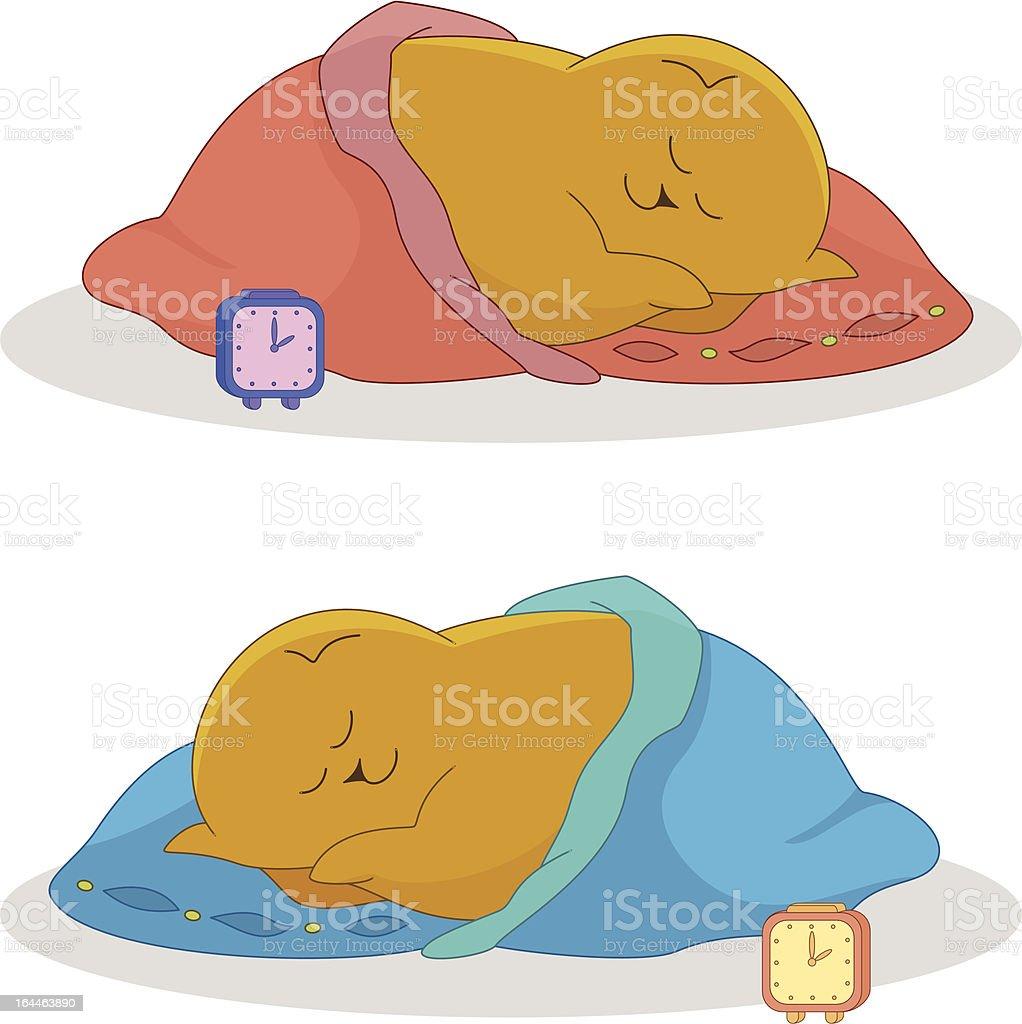 'Cartoon, sleeping fat cat' vector art illustration