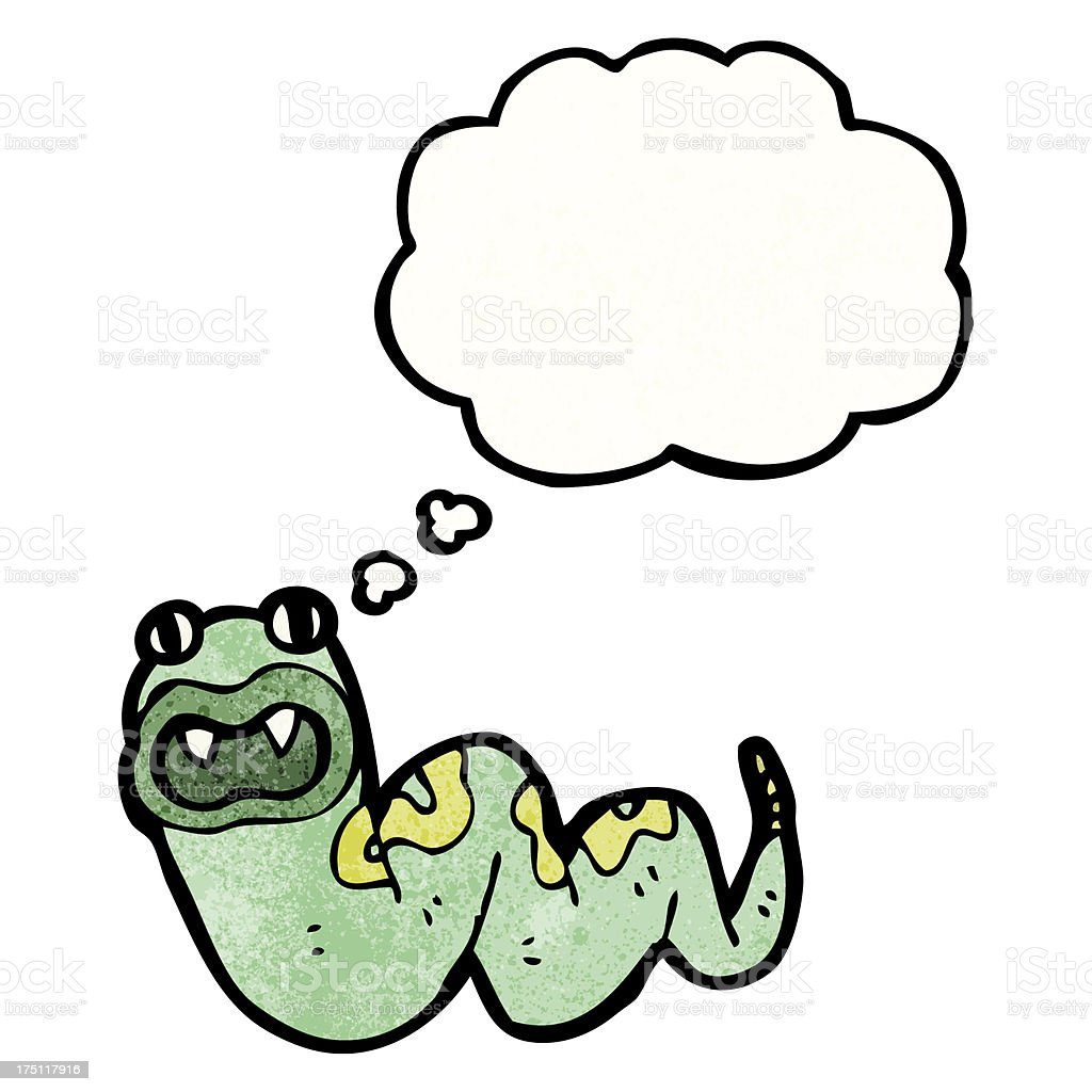 cartoon snake with thought bubble royalty-free stock vector art