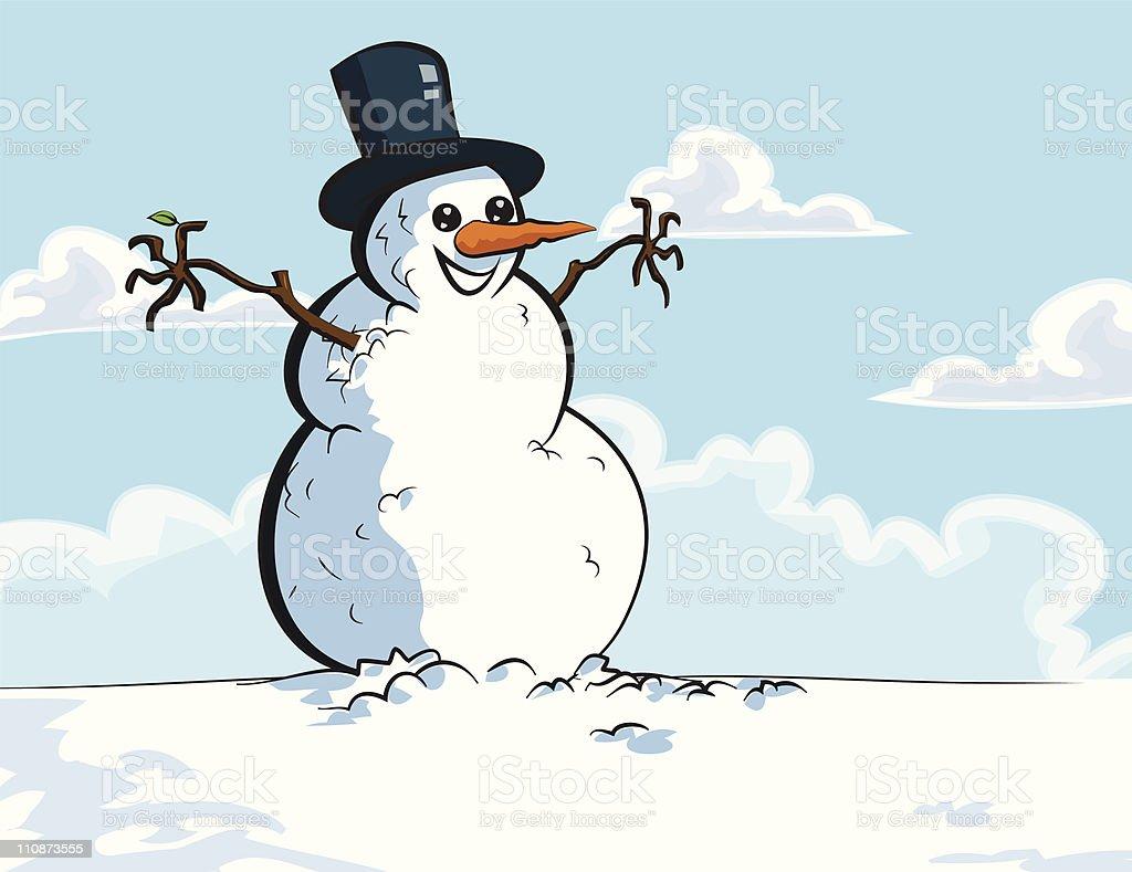 Cartoon snowman in the snow royalty-free stock vector art
