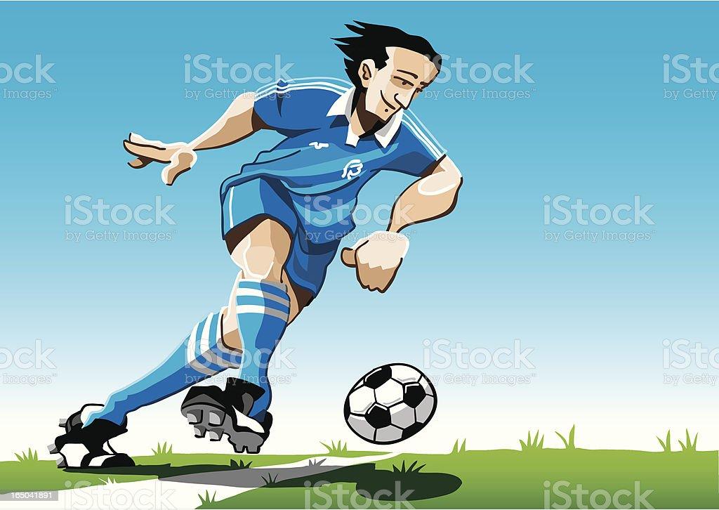 Cartoon Soccer Player Blue vector art illustration