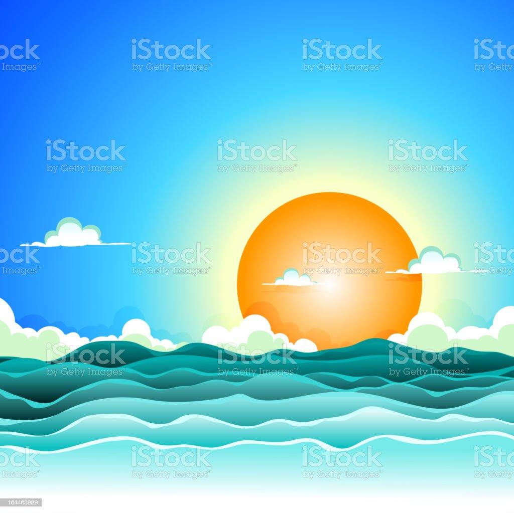 Cartoon Summer Ocean Background vector art illustration