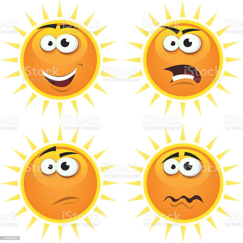 Cartoon Sun Icons Emotions royalty-free stock vector art