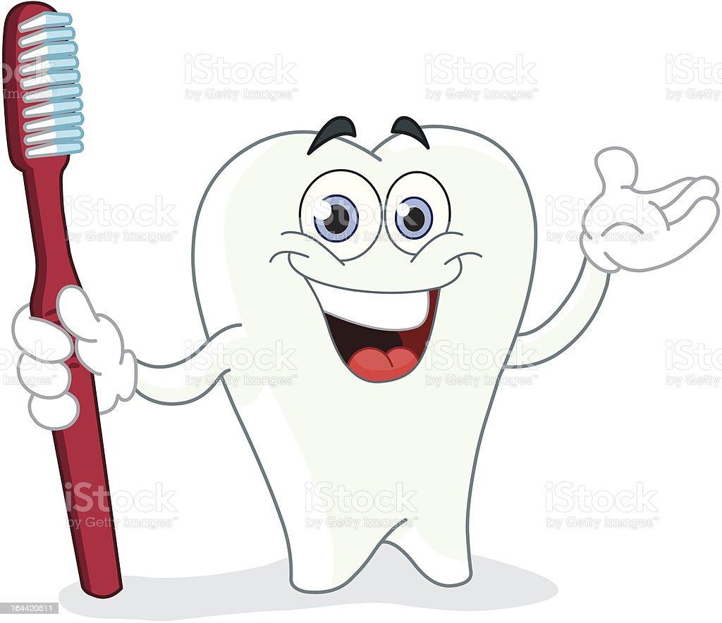 Dessin anim de dent avec brosse dents stock vecteur - Dessin de dent ...