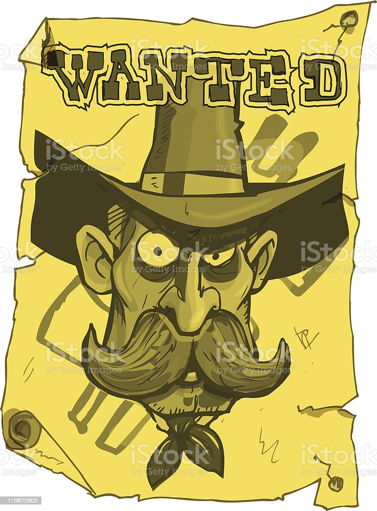 Cartoon wanted cowboy poster royalty-free stock vector art