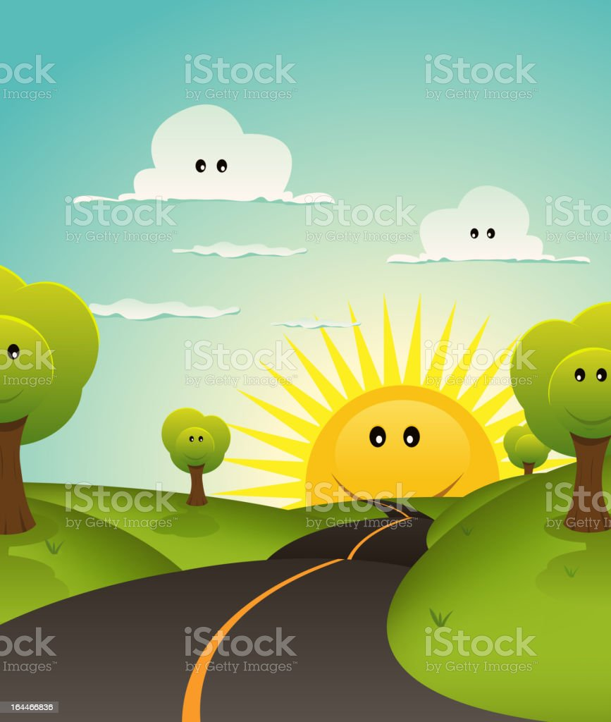 Cartoon Welcome Spring Or Summer Landscape royalty-free stock vector art