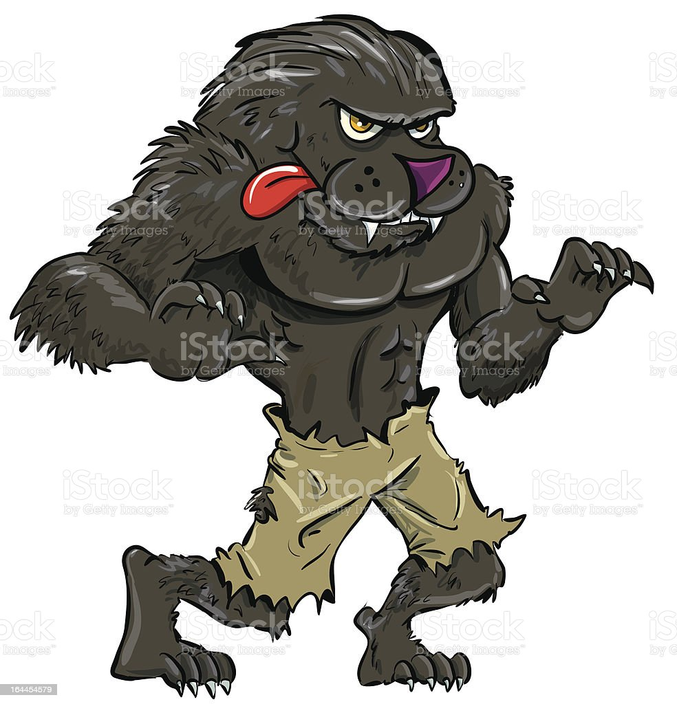 Cartoon werewolf with tongue. Isolated on white royalty-free stock vector art