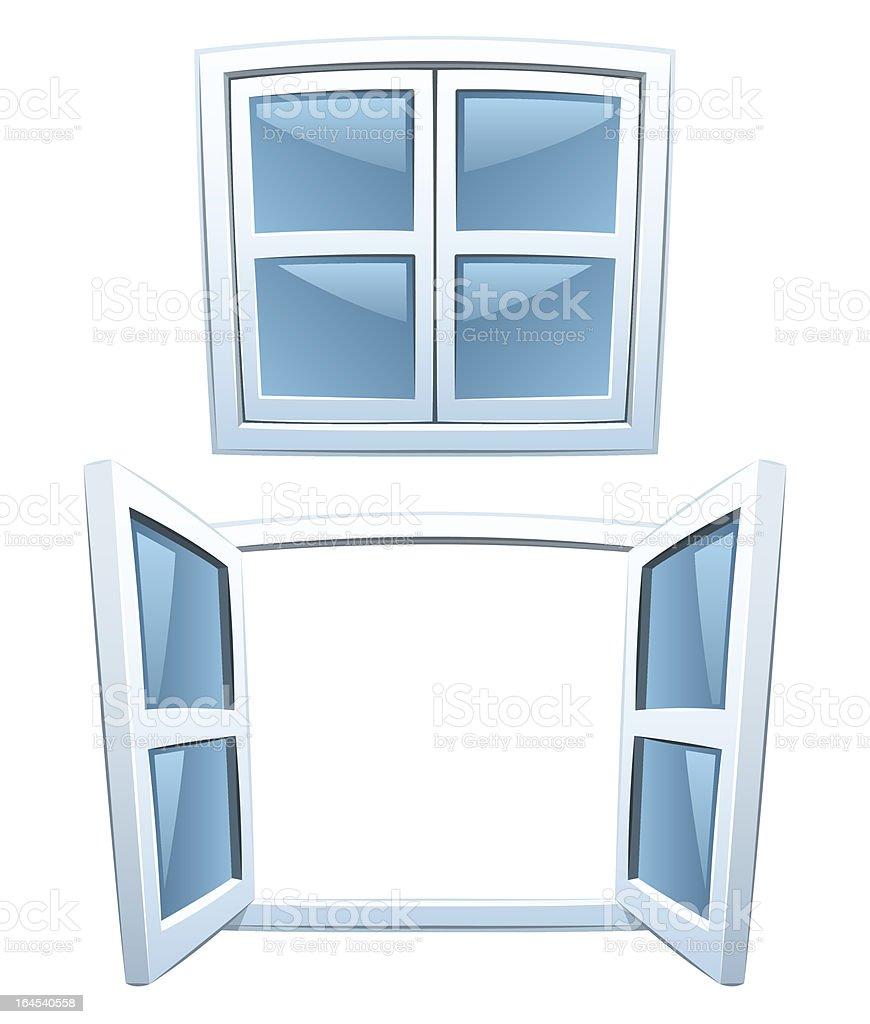 Cartoon windows vector art illustration
