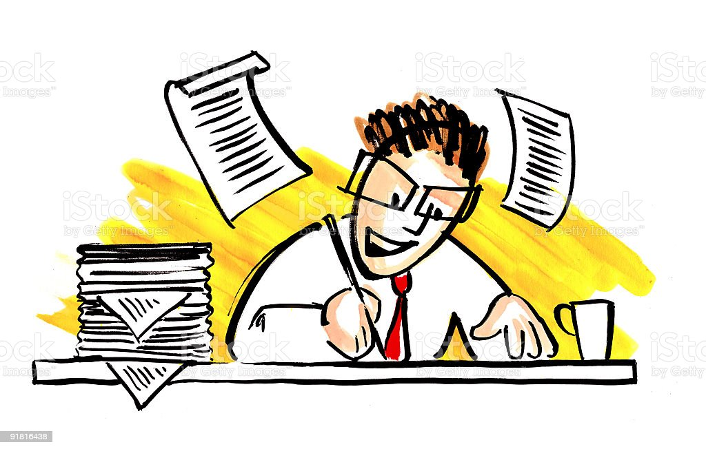 Cartoon writer or businessmen writing royalty-free stock vector art