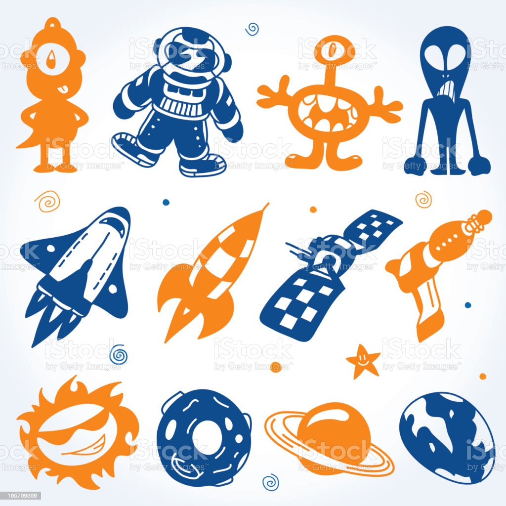 Cartoons Space Silhouettes Set vector art illustration
