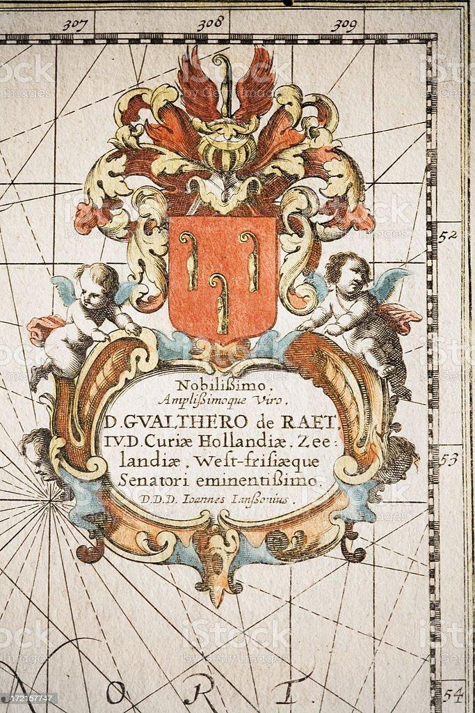 cartouche of an antique map vector art illustration