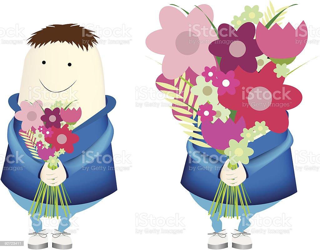 Carttoon junge trägt Blumen Lizenzfreies vektor illustration