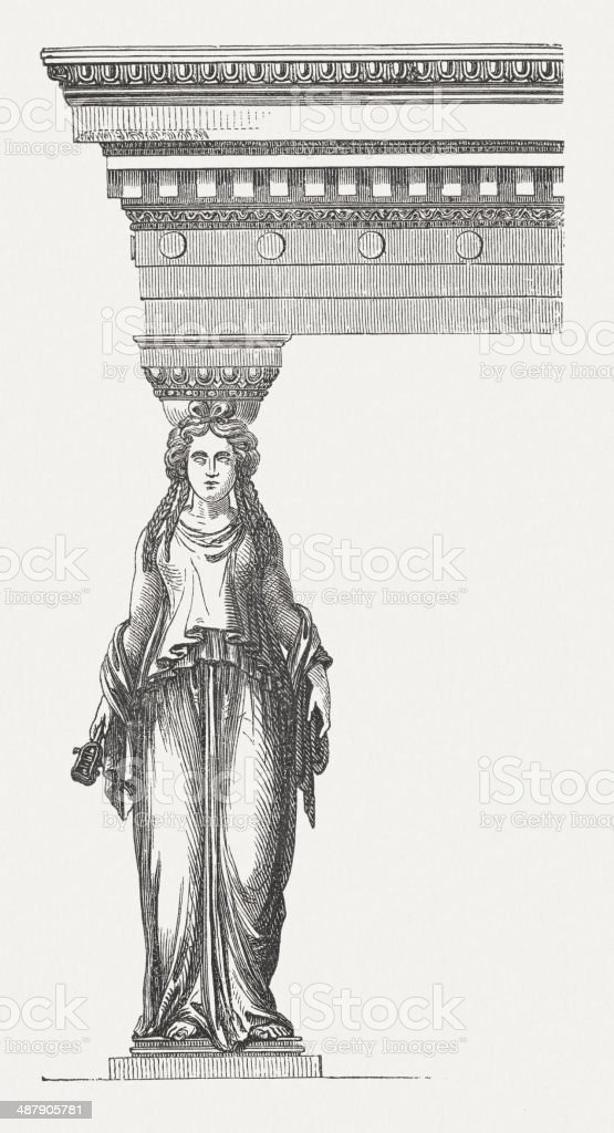 Caryatid from Erechtheion, Acropolis, Athens, Greece, wood enraving, published 1882 vector art illustration